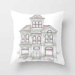 Green Italianate Victorian Throw Pillow