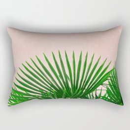 Palm Leaves On Pink Background Rectangular Pillow