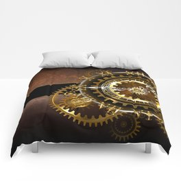 Steampunk Clock with Gears Comforters