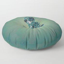 Sugar skull girl in blue Floor Pillow