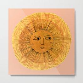 Sun Drawing Gold and Pink Metal Print