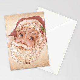Holly Jolly Santa Claus Head - Vintage Christmas Illustration  Stationery Cards
