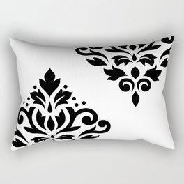 Scroll Damask Art I Black on White Rectangular Pillow
