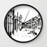 cityscape Wall Clocks featuring CITYSCAPE by hawwa a