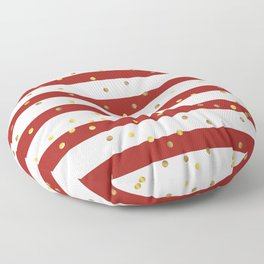 Christmas White and Red and Christmas Golden confetti Floor Pillow