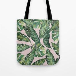 Jungle Leaves, Banana, Monstera Pink #society6 Tote Bag