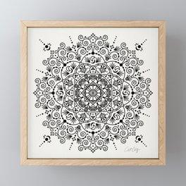 Moroccan Mandala – Black Ink Framed Mini Art Print