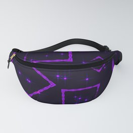 Purple diamonds and squares at the intersection with the stars on a dark background. Fanny Pack