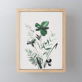 Green Flowers Framed Mini Art Print