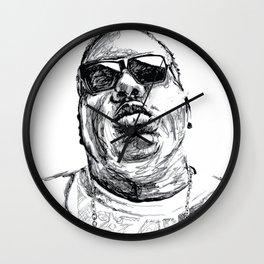 Digital Drawing 33 - Notorious B.I.G. Black and White Wall Clock