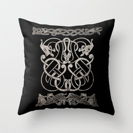 Old norse design - Two Jellinge-style entwined beasts originally carved on a rune stone in Gotland. Throw Pillow