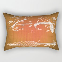 Fly Fishing Bait Patent Blueprint Drawing Sepia Rectangular Pillow
