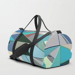 Mid-Century Modern Abstract, Turquoise and Neutrals Duffle Bag