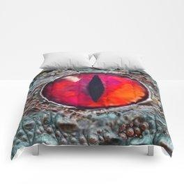 BLAZING RED DRAGON'S EYE & SCALY GREY  SKIN FROM  ART Comforters