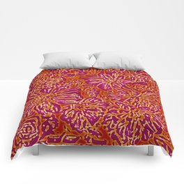 Marigold Lino Cut, Batik Red And Purple Comforters