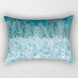 Tiny Forest // Snow Covered Evergreen Trees Spring Snow in the Mountains Cool Moody Photograph Rectangular Pillow