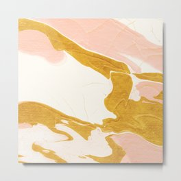 Abstract Blush Pink and Gold Marble Paint Metal Print