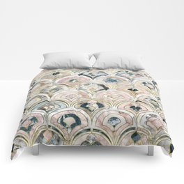 Art Deco Marble Tiles in Soft Pastels Comforters