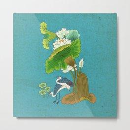 Minhwa: Lotus and Night Herons E Type  Metal Print