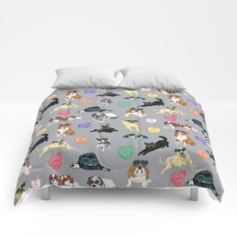 Valentine's Day Candy Hearts Puppy Love - Grey Comforters