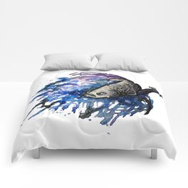 Galaxy Betta Fish Watercolor Comforters