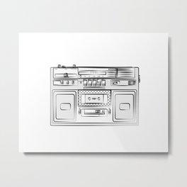 retro tape recorder illustration, cassette player drawing, 80s radio Metal Print