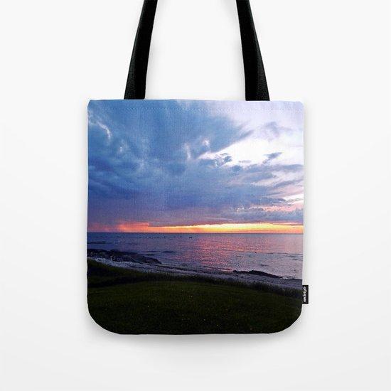 Sunset at Sea and the Rain Storm Tote Bag