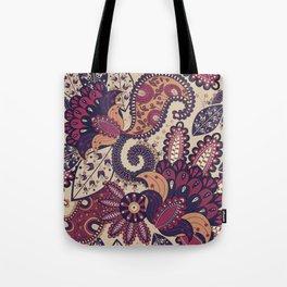 Maroon Boho Paisley & Floral Pattern Tote Bag
