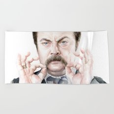 Swanson Mustache Beach Towel