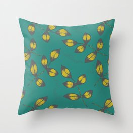 Mustard Yellow Leaves Throw Pillow