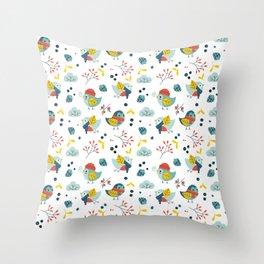 winter birds pattern Throw Pillow