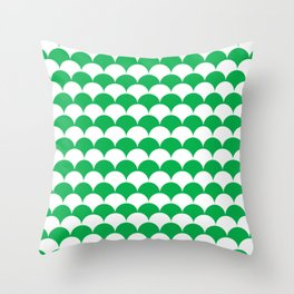 Green Fan Shell Pattern Throw Pillow