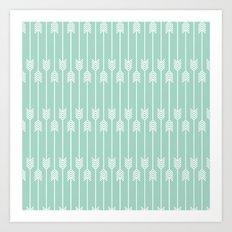 White Arrows on Mint Art Print