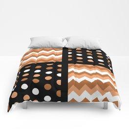 Black/Two-Tone Burnt Orange/White Chevron/Polkadot Comforters