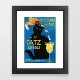 Mix Your Drinks with Catz (Cats) Bitters Aperitif Liquor Vintage Advertising Poster Framed Art Print