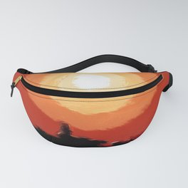 Fiery sunset in the city Fanny Pack