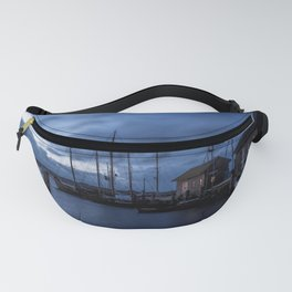 Blue memories- Blue hour at an harbour at the Sea Fanny Pack
