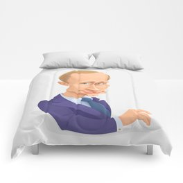 illustration of Russian president Putin on white background Comforters