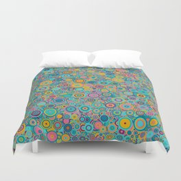 Psychedelic funky Seventies disco party Duvet Cover