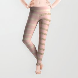 Abstract Stripes Gold Coral Light Pink Leggings
