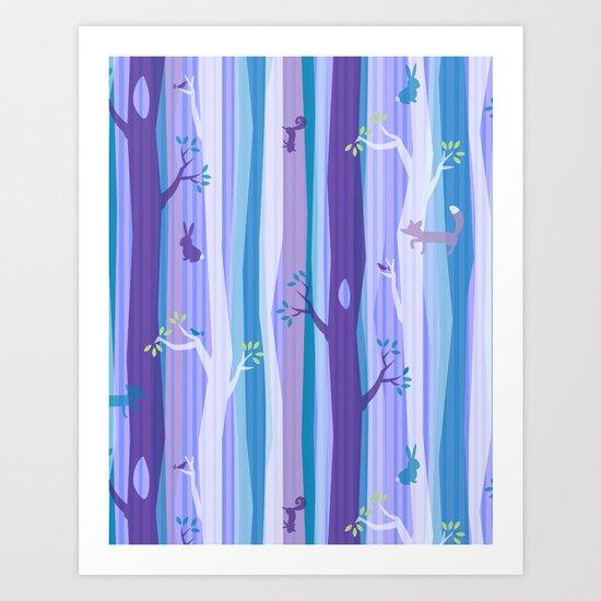 Purple Woodland Stripe Art Print