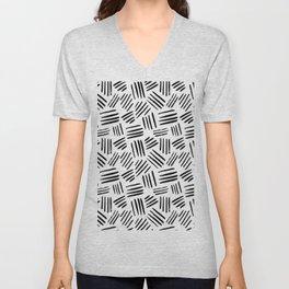 Abstract black white watercolor brushstrokes motif Unisex V-Neck
