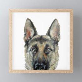 Shepard Dog illustration original painting print Framed Mini Art Print