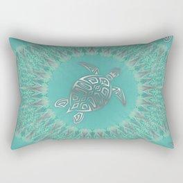 Turquoise Silver Turtle And Mandala Rectangular Pillow