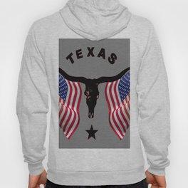 Patriotic American Flag Texas Longhorn Abstract Art Hoody