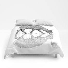 Black & White Line Work Animal Reflection Vector Comforters