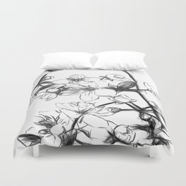 Cherry Blossoms Minimal Drawing Duvet Cover