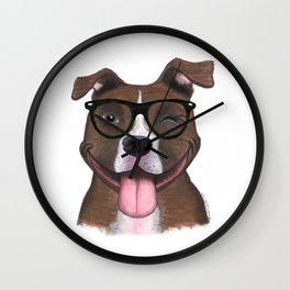 Hipster Pit Bull Wall Clock