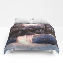 Blues In Nature Waterfall Spray Painting Comforters