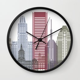 Baltimore skyline poster Wall Clock